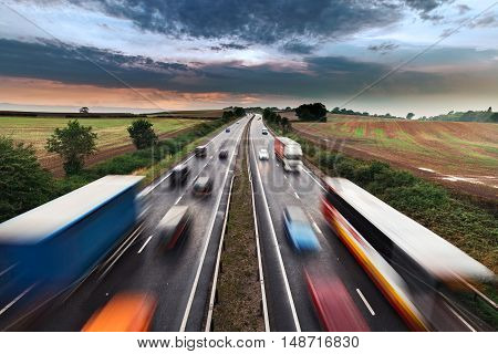 Blurred Shapes of Moving Vehicles on Busy Rural Motorway