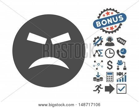 Furious icon with bonus clip art. Vector illustration style is flat iconic bicolor symbols, cobalt and gray colors, white background.