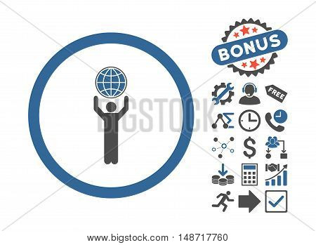 Globalist icon with bonus pictograph collection. Vector illustration style is flat iconic bicolor symbols, cobalt and gray colors, white background.