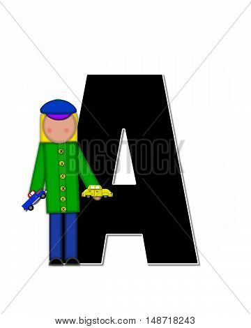 The letter A in the alphabet set