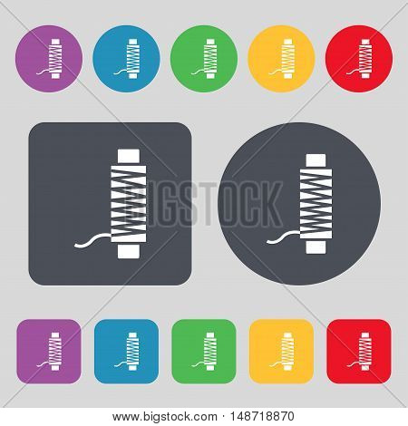 Thread Icon Sign. A Set Of 12 Colored Buttons. Flat Design. Vector