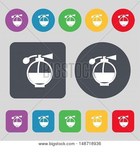 Perfume Icon Sign. A Set Of 12 Colored Buttons. Flat Design. Vector