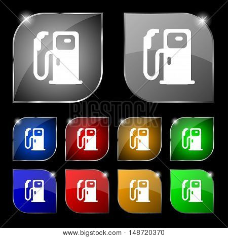 Fuel Icon Sign. Set Of Ten Colorful Buttons With Glare. Vector