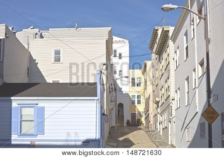 Dead End street San Francisco neighborhood California.