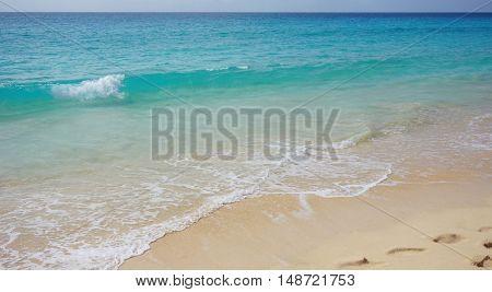 exotic natural beach on sal island on sal island