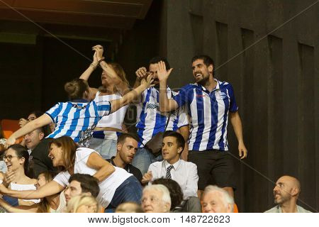 VALENCIA, SPAIN - SEPTEMBER 22nd: Alaves supporters during Spanish soccer league match between Valencia CF and Deportivo Alaves at Mestalla Stadium on September 22, 2016 in Valencia, Spain