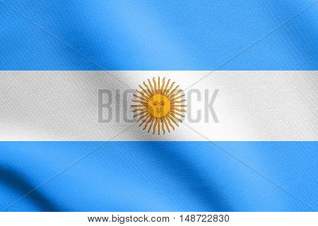 Argentinian national official flag. Argentine Republic patriotic symbol banner element background. Flag of Argentina waving in the wind with detailed fabric texture, illustration