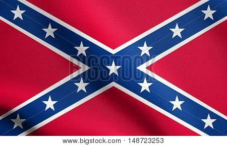 National flag of the Confederate States of America. Known as Confederate Battle Rebel Southern Cross Dixie flag. Patriotic symbol banner. Historical flag of the CSA waving detailed fabric texture, illustration