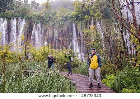 Plitvice Lakes National Park Croatia- September 3 2014. Waterfall in Plitvice Lakes National Park.