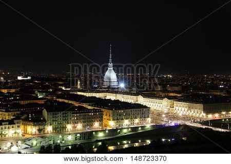 Night view of the Turin city center with Mole Antonelliana, Turin,Italy,Europe
