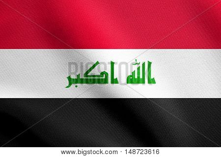 Iraqi national official flag. Irak patriotic symbol element background. Iraki banner. Flag of Iraq waving in the wind with detailed fabric texture, illustration