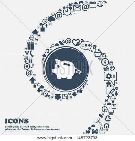 Piggy Bank Icon In The Center. Around The Many Beautiful Symbols Twisted In A Spiral. You Can Use Ea
