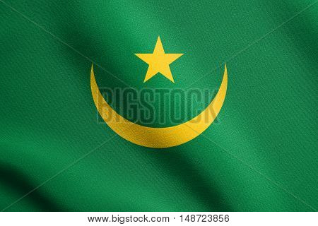 Mauritanian national official flag. African patriotic symbol banner element background. Flag of Mauritania waving in the wind with detailed fabric texture, illustration