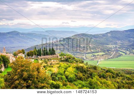 View from the old wall surrounding Motovun an historic hill town in the Istrian Peninsula of Croatia.