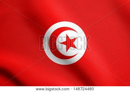Tunisian national official flag. African patriotic symbol banner element background. Flag of Tunisia waving in the wind with detailed fabric texture, illustration