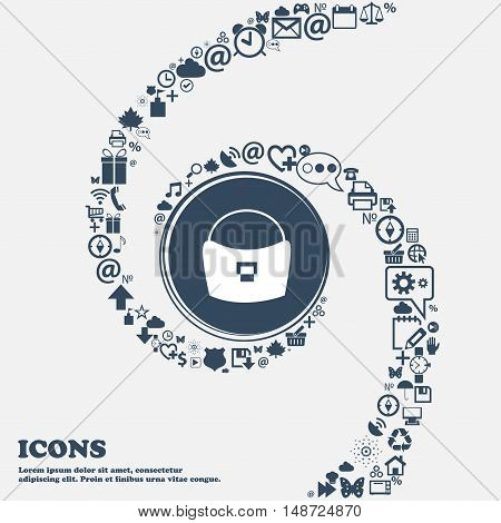 Woman Hand Bag Icon In The Center. Around The Many Beautiful Symbols Twisted In A Spiral. You Can Us