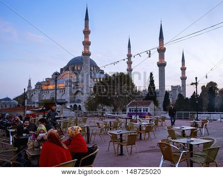 Istanbul Turkey - November 18 2012: The Suleymaniye Mosque is an Ottoman imperial mosque located on the Third Hill of Istanbul Turkey. It is the largest mosque in the city and one of the best known sights of Istanbul. Suleymaniye Mosque in Istanbul in the