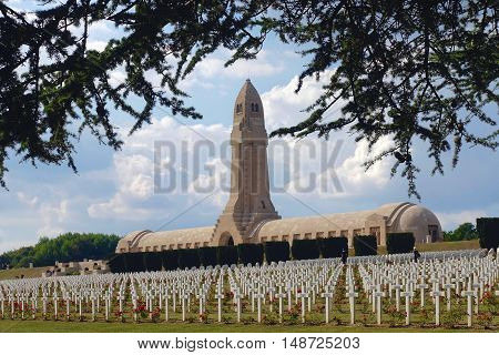 Verdun, France, September 21, 2016: The WWI gravesote and bone house in Verdun, France.