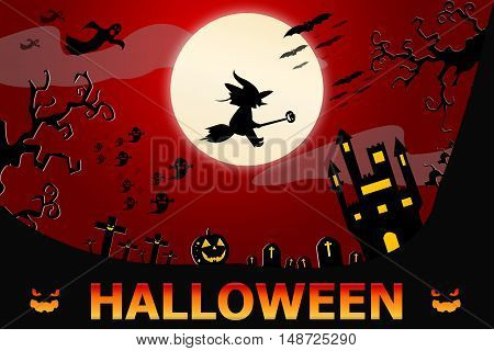 Halloween Design Background With Spooky Graveyard, Naked Trees, Graves And Bats