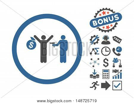 Robbery pictograph with bonus elements. Vector illustration style is flat iconic bicolor symbols, cobalt and gray colors, white background.