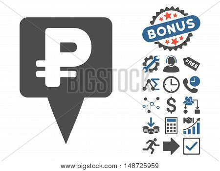 Rouble Map Pointer pictograph with bonus pictograph collection. Vector illustration style is flat iconic bicolor symbols, cobalt and gray colors, white background.