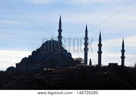 Suleymaniye Mosque (Turkish: Suleymaniye Camii) Silhouettes Appearance. The Süleymaniye Mosque is an Ottoman imperial mosque located on the Third Hill of Istanbul Turkey. It is the largest mosque in the city and one of the best known sights of Istanbul.