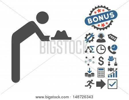 Servant With Hat pictograph with bonus clip art. Vector illustration style is flat iconic bicolor symbols, cobalt and gray colors, white background.