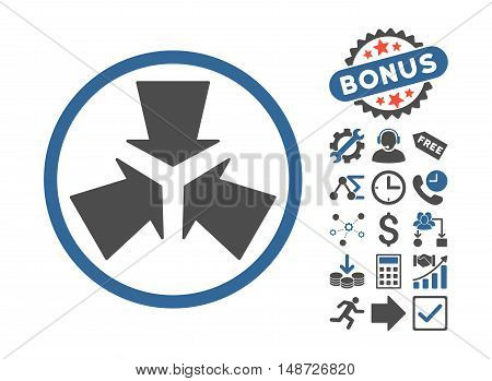 Shrink Arrows pictograph with bonus pictures. Vector illustration style is flat iconic bicolor symbols, cobalt and gray colors, white background.