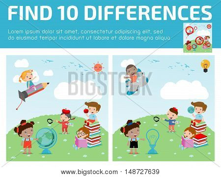 find differences,Game for kids ,find differences,Brain games, children game, Educational Game for Preschool Children, Vector Illustration, education concept, back to school template with kids.