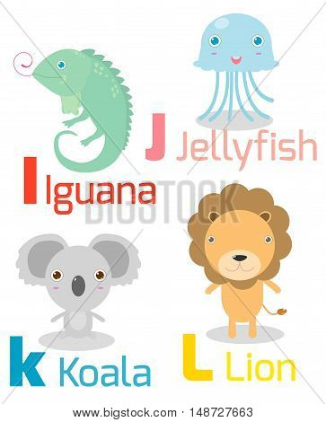 Cute alphabet with funny animals from I to L, Illustration of alphabet with animals I J K L ,iguana, jellyfish, koala, lion, Funny cartoon animals on white background, Vector Illustration.