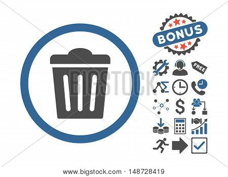 Trash Can pictograph with bonus pictogram. Vector illustration style is flat iconic bicolor symbols, cobalt and gray colors, white background. poster