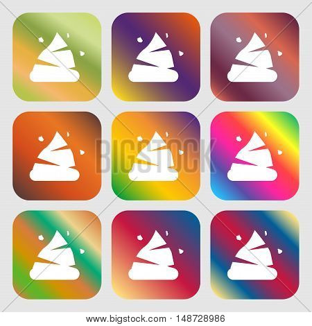 Poo Icon Sign. Nine Buttons With Bright Gradients For Beautiful Design. Vector