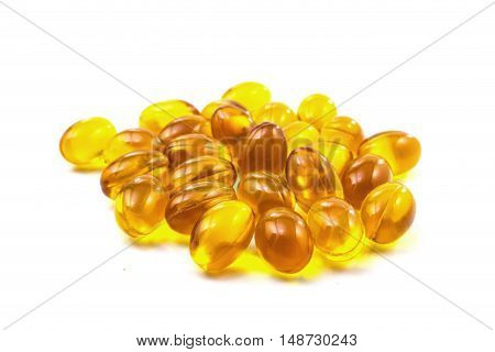 Supplementary Food - Omega-3 Capsules On White Background