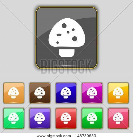 Mushroom Icon Sign. Set With Eleven Colored Buttons For Your Site. Vector