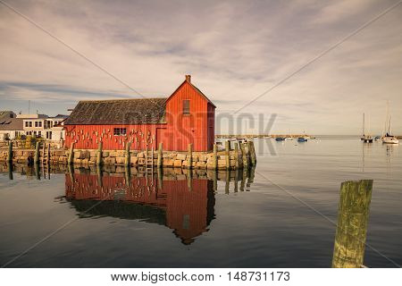 Toned image of Motif Number 1 in Rockport MA which is supposedly the most painted and sketched building in the USA.