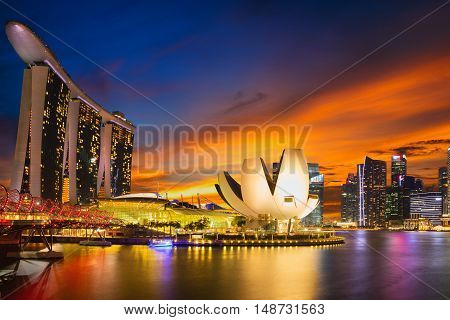 Singapore city skyline Marina bay at dusk Singapore