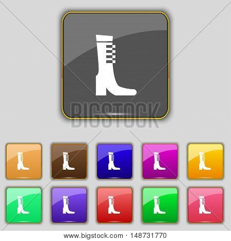 Female Fall And Winter Shoe, Boot Icon Sign. Set With Eleven Colored Buttons For Your Site. Vector