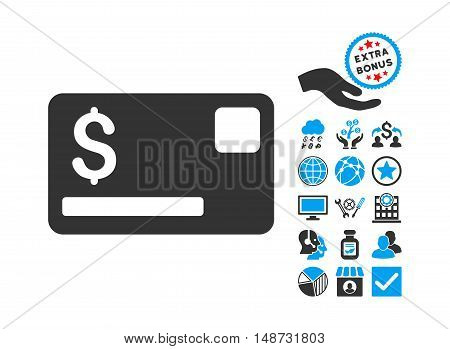 Credit Card icon with bonus pictogram. Vector illustration style is flat iconic bicolor symbols, blue and gray colors, white background.
