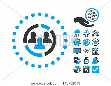 Demography Diagram pictograph with bonus design elements. Vector illustration style is flat iconic bicolor symbols, blue and gray colors, white background.
