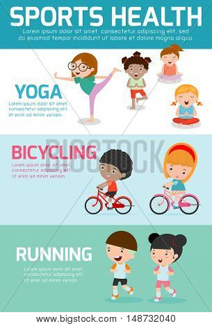 Sports Health Infographics, Sports Health concept people exercise set , swimming,cycling, running, yoga. kids sports health, child sports health, vector illustration.