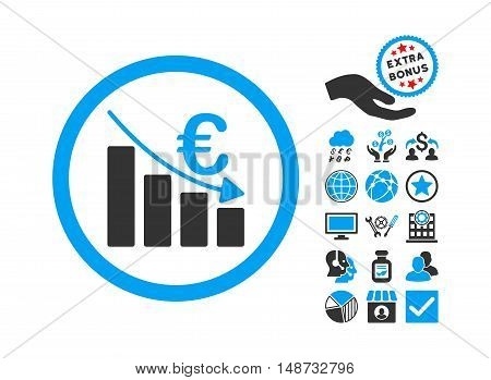 Euro Recession pictograph with bonus pictures. Vector illustration style is flat iconic bicolor symbols, blue and gray colors, white background.