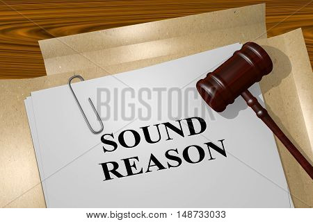 """3D illustration of """"SOUND REASON"""" title on legal document poster"""