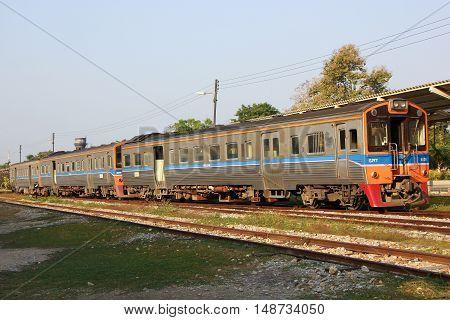 CHIANGMAI THAILAND -JANUARY 16 2013: THN Diesel Railcar no 1108. For Free train no407 from Nakhonsawan to chiangmai. Photo at Chiangmai railway station.