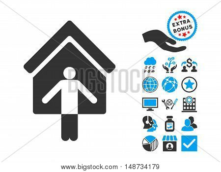 House Owner Wellcome icon with bonus images. Vector illustration style is flat iconic bicolor symbols, blue and gray colors, white background.