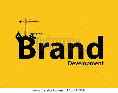 brand branding development illustration with sillhouette text with crane bulldozer and construction theme