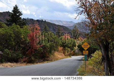 Road in the mountains near Sundance ski resort in Utah during fall