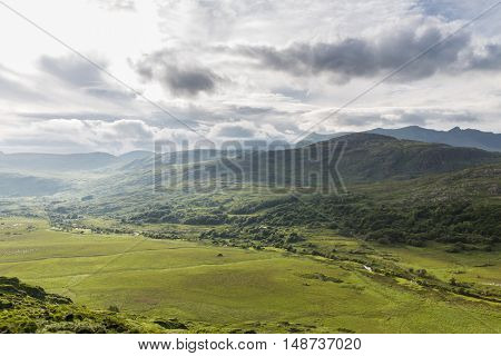 nature and landscape concept - view to plain of Killarney National Park valley in ireland