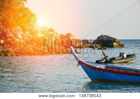 Fishing Boats And Sunrise Flare