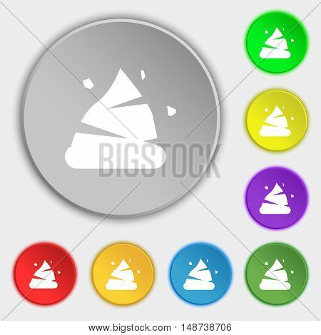 Poo Icon Sign. Symbol On Eight Flat Buttons. Vector