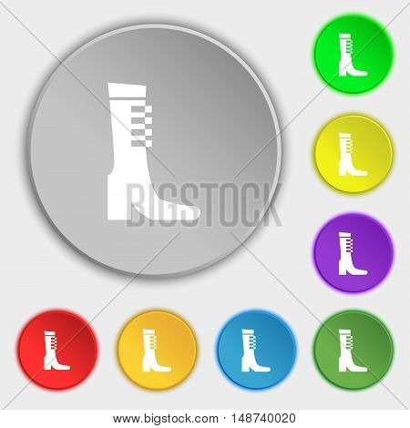 Female Fall And Winter Shoe, Boot Icon Sign. Symbol On Eight Flat Buttons. Vector